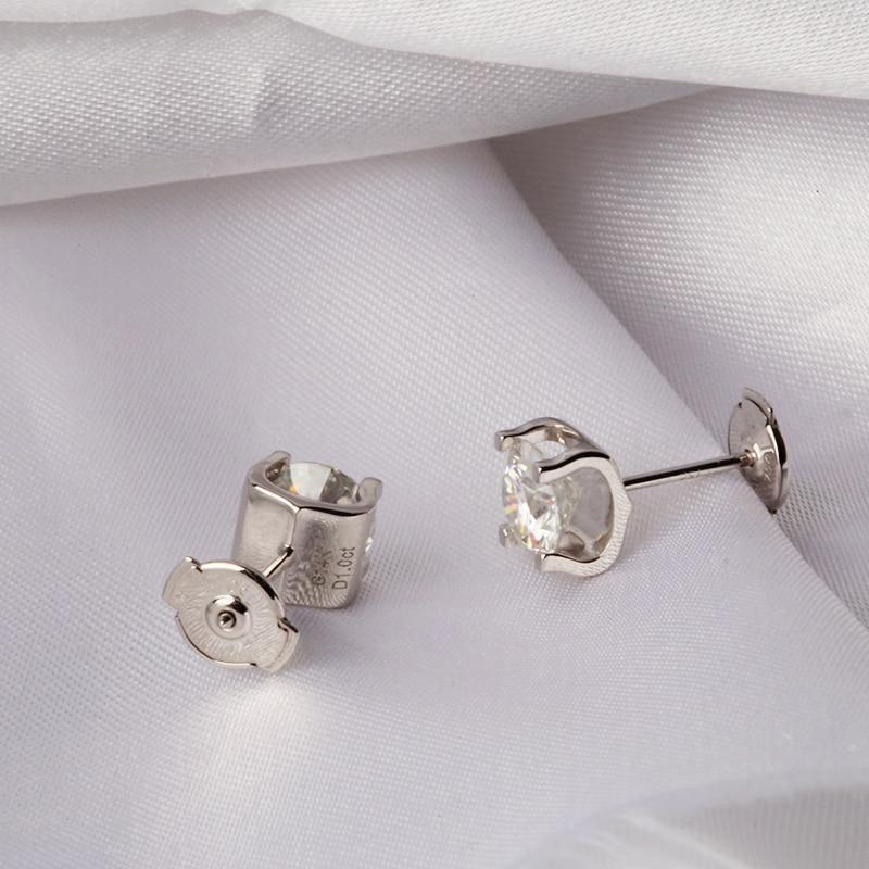 Moissanite Ohrringe 5mm 1ctw Stud Ohrringe Sterling Silber und Solide 18 K Gold Klassische Labor Diamant 4 Prong Ohrringe für Frauen-in Ohrringe aus Schmuck und Accessoires bei  Gruppe 3