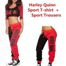 00581f358 Esquadrão suicida Harley Quinn Senhoras Trajes Cosplay Hoodies Moletons  T-shirt Top Corredores Calças Calças