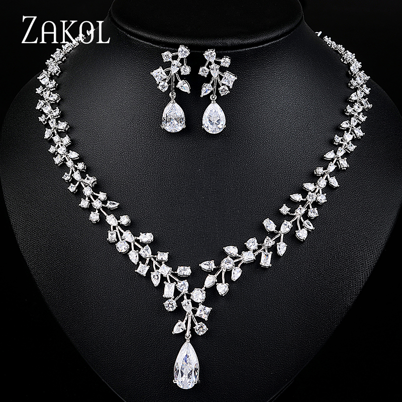 ZAKOL Luxury Plant Branch Sliver Color AAA Cubic Zirconia Flower Jewelry Sets For Bridal Wedding Engagement Jewelry FSSP072