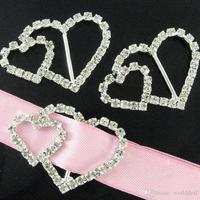 30pcs Lot Elegant DIY Crystal Double Heart Rhinestone Buckle Wedding Invitation Ribbon Slider Party Banquet