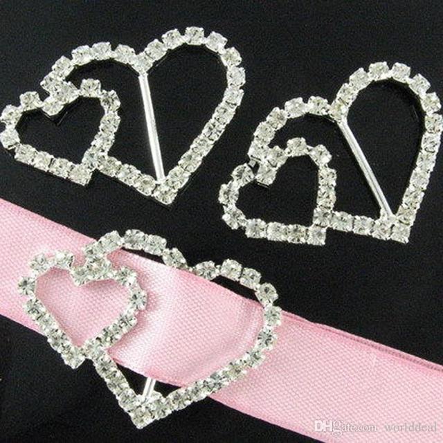 30pcs Lot Elegant Diy Crystal Double Heart Rhinestone Buckle Wedding