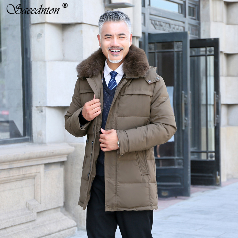 Winter   Down   Jacket For Men 2019 Brand Male Casual Hooded With Big Rabbit Fur Collar Thick Warm Parkas Men White Duck   Down     Coats