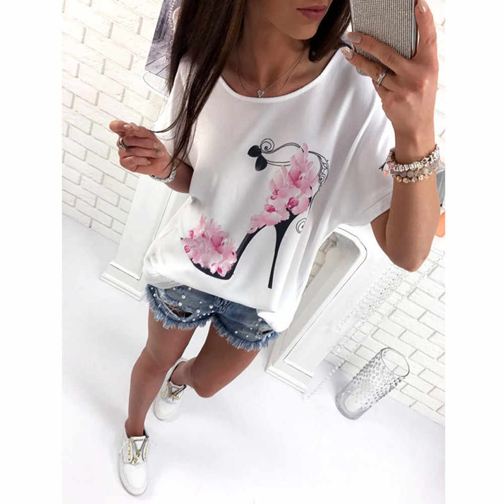 Vrouwen Tshirt Korte Mouw Hoge Hakken Gedrukt Tops Strand Toevallige Losse Tee Top Blusas Tops Tee Femme Meisje T-shirts Mujer plus Size