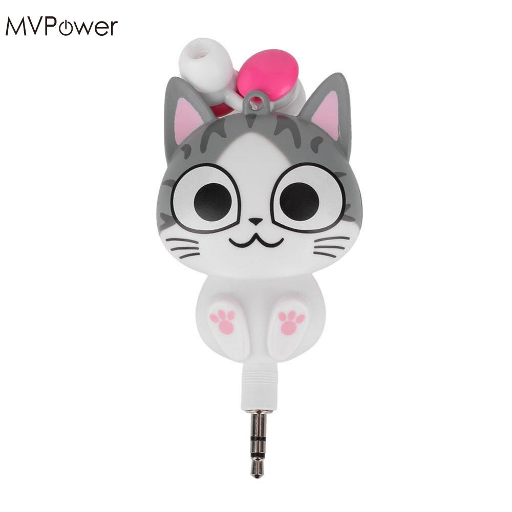 MVpower 3.5mm Cute Cartoon Cat/Panda 3.5mm Wired Retractable In-Ear Earphones Headset MP3 Headphone handsfree Earbuds cute cartoon cat claw style in ear earphones for mp3 mp4 more blue white 3 5mm plug