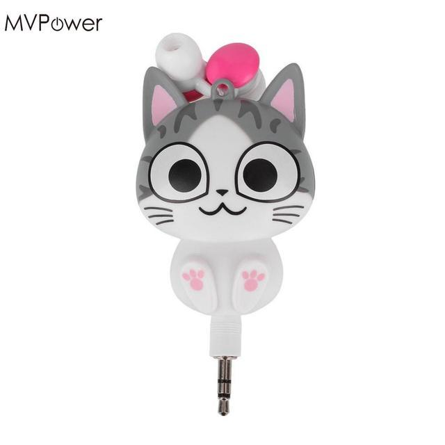 MVpower 3.5mm Cute Cartoon Cat/Panda 3.5mm Wired Retractable In Ear ...