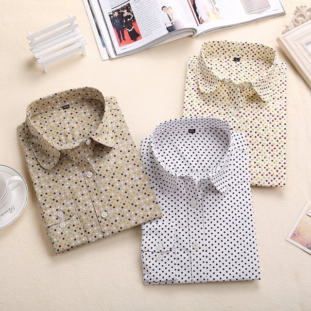 2018 Plus Size Polka Dot Cotton Women Blouses Shirt Long Sleeve Women's Shirts  Turn Down Collar Cotton Casual Blouse Women Top