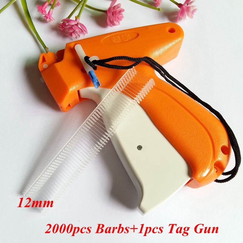 1pcs Tag Gun +2000pcs 12mm Trademark Barbs Clothes Garment Price Label Brand Tagging Tags Machine Gun