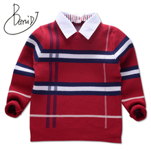 Boys Sweater 2018 Winter Casual Plaid Pullover for Baby Boys Children Knitwear Sweaters Cotton Kids Fashion Clothes Toddler Tops boys and girls cartoon sweaters 2017 autumn winter new children knitting clothes baby casual cotton knit wear pullover tops 3 8y