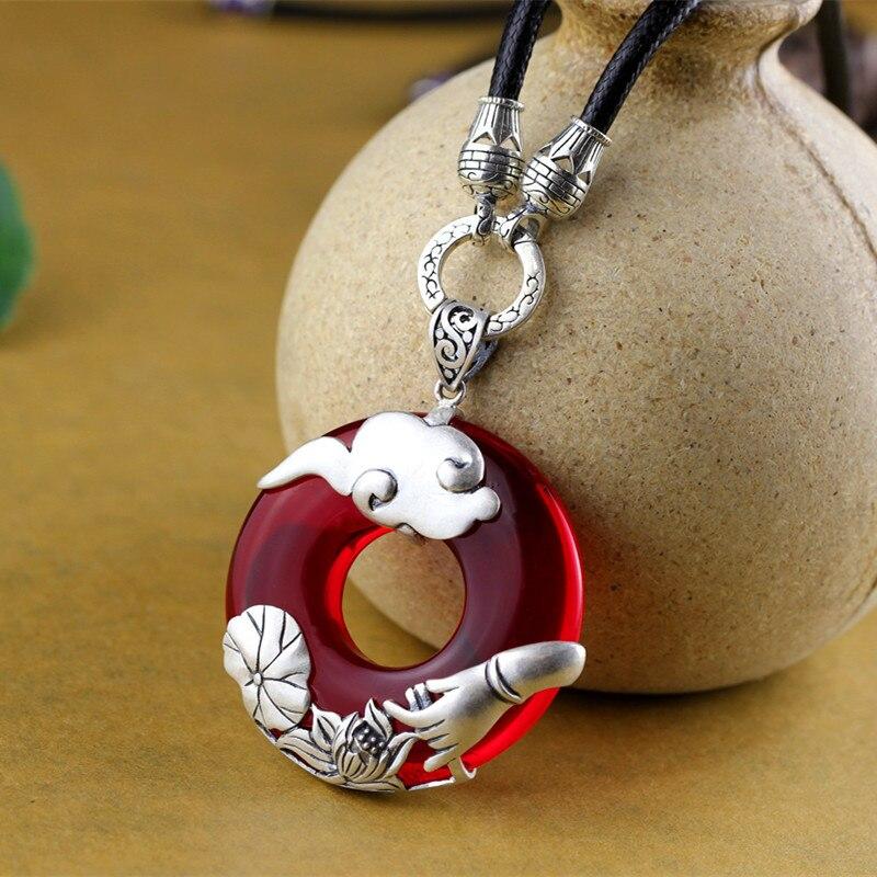 S925 pur argent ornements Thai argent seiko paix fermoir grenade rouge pendentif chaîne chandail pendentif