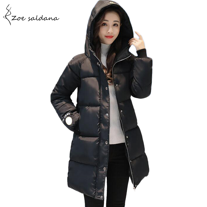 Zoe Saldana 2017 Women Cotton Padded Jacket Winter Windproof Women Parkas Hooded Casual Slim Coats zoe saldana 2017 women winter jacket down cotton padded coats casual warm winter coat turn down collar long loose parkas