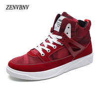 ZENVBNV Men Casual   Shoes   Autumn Winter New Lace-up Style Fashion Trend Microfiber Flat Breathable Rubber High Top   Shoes   Man