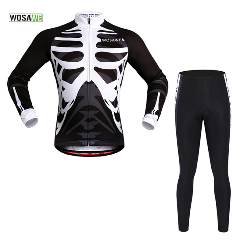 WOSAWE Pro Long Sleeve Cycling Jersey Sets Breathable 3D Padded Sportswear Bicycle Bike Skeleton Apparel Cycling Clothing