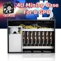 Silver Open Air Mining Rack Frame Rig Case Box 4U+4Fans For 8 GPU Ethereum ETH/ZEC/Bitcoin ATX Computer