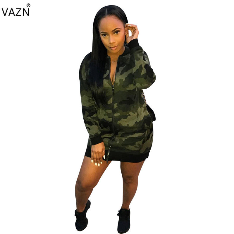 Diplomatic Vazn Autumn Hot 2018 Casual Camouflage Bodycon Mini Dress Women Zipper V-neck Full Sleeve Dress Ladies Hollow Out Dress Omm1029 A Complete Range Of Specifications Women's Clothing