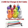 BrankBass 2A 2 USB Port Car-charger Universal Car Charger + 3 in1 Micro USB & For Iphone 6 5 4 For Samsung Galaxy S6