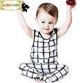 Nuevo Verano Nununu Boy Ropa Set Precioso Patrón A Cuadros t-shirt + Harem 2 unids Traje de Chica de Moda bebé Celosía Ocio Niños