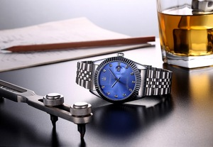Image 4 - TORBOLLO Brand New Quartz Watch Men Silver Blue Date Analog 3ATM Waterproof Mens Wrist Watch relogio masculino With original box