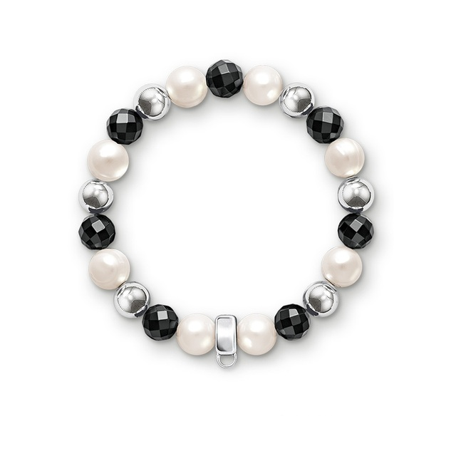 Most Fashion Freshwater Pearls Silver Solid Beads Hemae Bracelet With Carrier Fit Charms