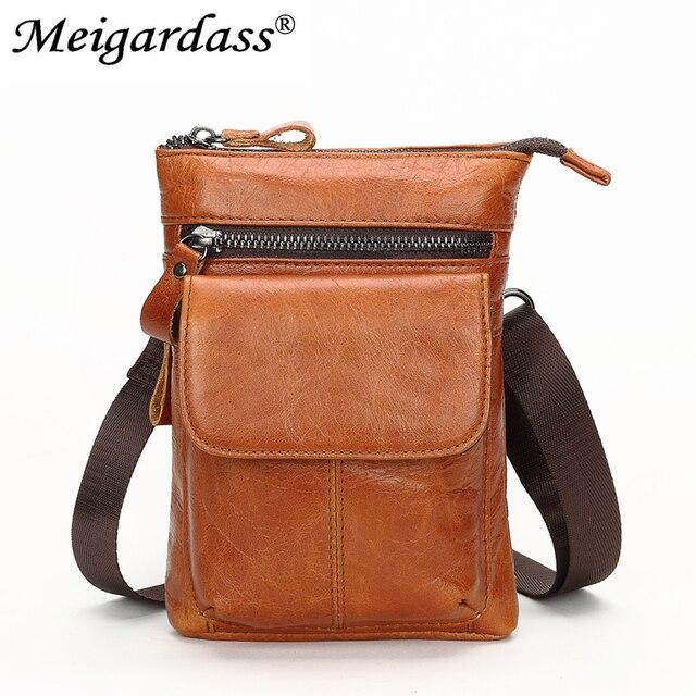 d462746827 MEIGARDASS Genuine Leather Men s Belt Waist Pack Small Shoulder Crossbody Bags  Men Bum Waist Bag Hip Fanny Pack Male Phone Pouch