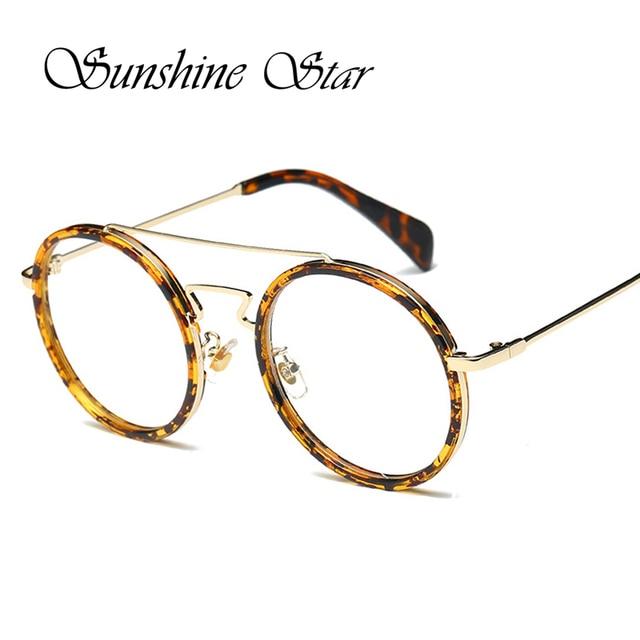 Pop Age Unique Leopard Eyeglass Frames Women Round Glasses Metal ...
