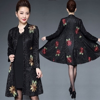 2018 Spring Dress Two Sets Of Mother Dress Middle Aged Plus Size Women S Embroidery Flower