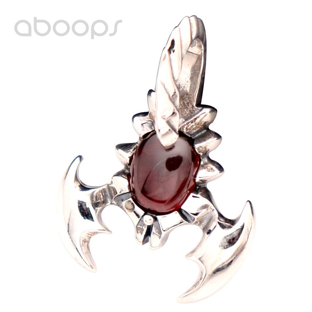 Vintage Punk 925 Sterling Silver Scorpion Necklace Pendant with Oval Red Garnet Stone for Men Women