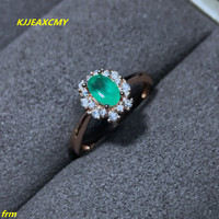 KJJEAXCMY Fine jewelry Inlaid natural round emerald ring in Sterling Silver Open Woman adjustable support for detection