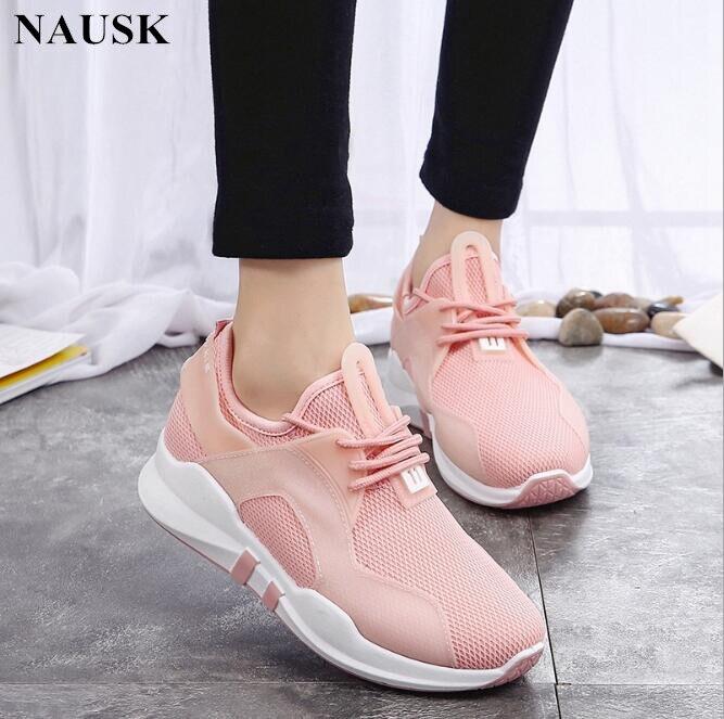 rose Panier Sneakers forme Mode Noir Plate Casual Rose Tenis Chaussures Maille Femme 2018 Nausk Blanc Feminino blanc Femmes Printemps BnCqTwxg