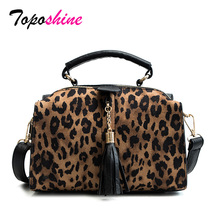 Personality Leopard Pillow Lady Handbag New Fashion High Quality Tassel Casual Wild Temperament Shoulder Messenger Bag