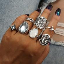 Tocona 7 sztuk/zestaw Vintage Antique kolor srebrny kropla wody Opal kamień Knuckle Finger Midi zestaw pierścieni dla kobiet czeski biżuteria 6338