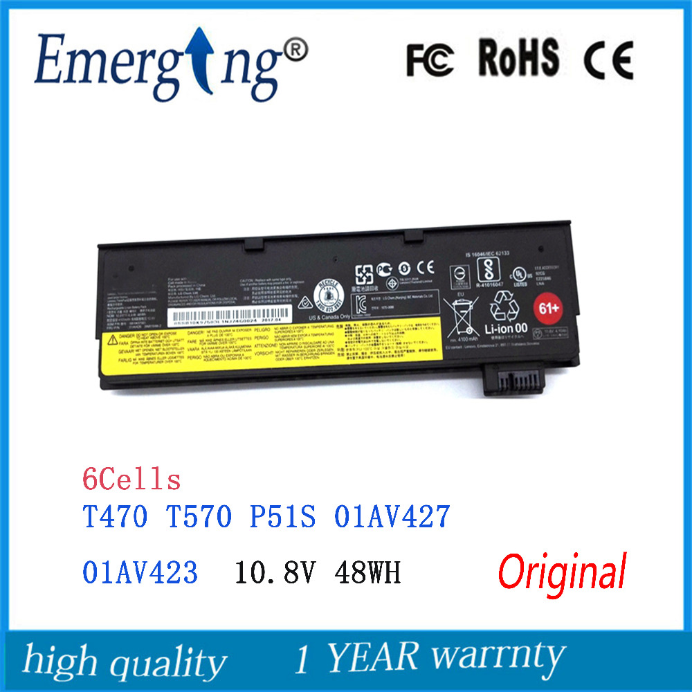 10.8V 48Wh New  Original Laptop Battery for lenovo ThinkPad  T470 T570 P51S 01AV427 01AV426 neworig keyboard bezel palmrest cover lenovo thinkpad t540p w54 touchpad without fingerprint 04x5544