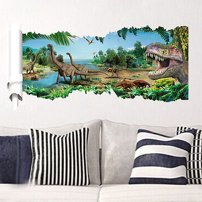 kids 3d world wall sticker jurassic park dinosaur scroll mural art