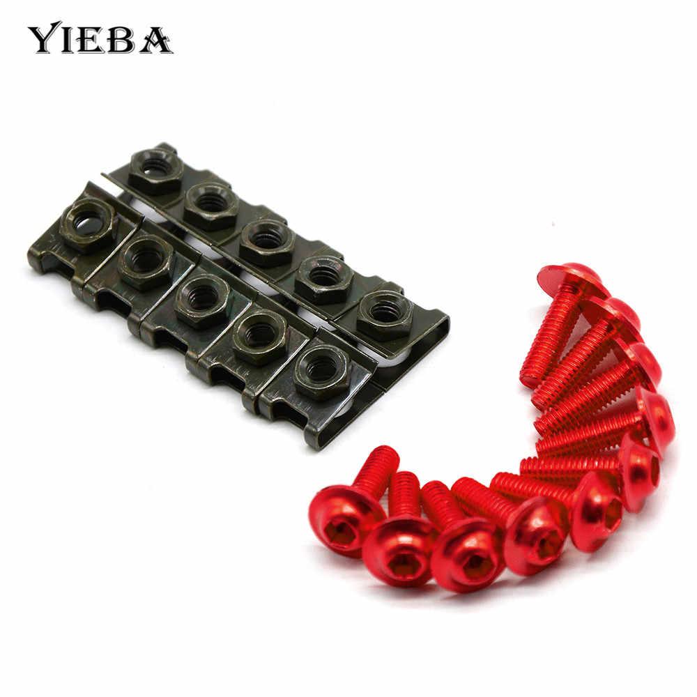 Parafusos para carenagem de motocicleta, 10 peças, 6mm, fixador de velocidade, parafusos, porcas para cbr 600 f2, f3, f4, f4i cbr900rr