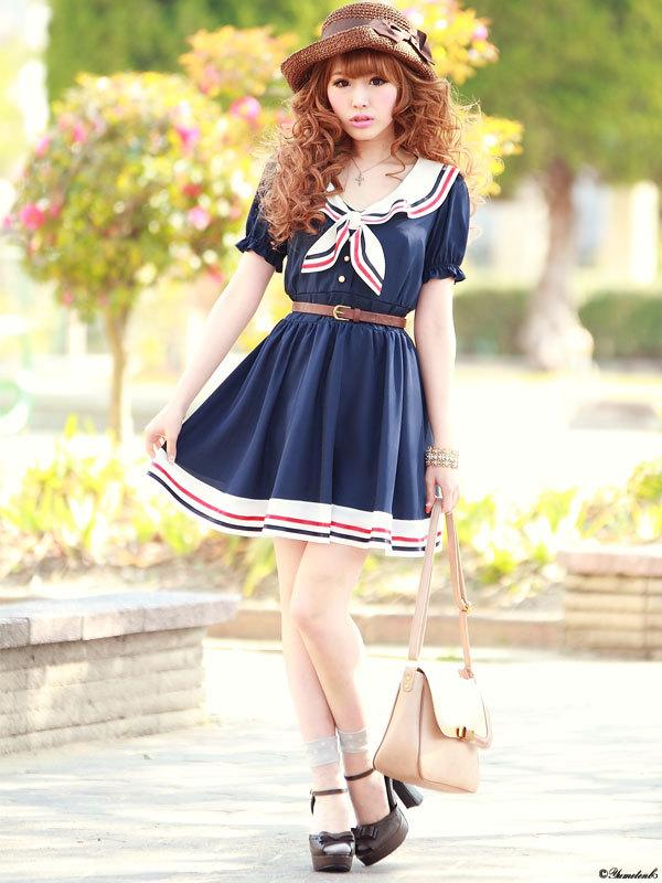 Hot Navy Blue Chiffon Cosplay Dress Summer Girls Cute Sailor Collar Dress Striped