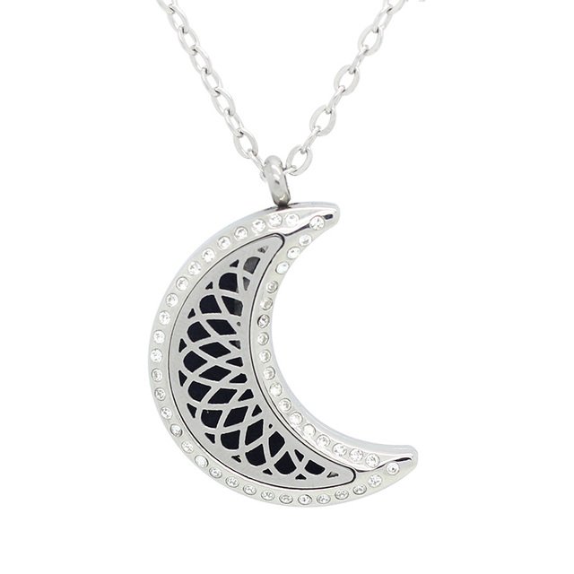 With chain as gift 316l stainless steel moon shape essential oil 316l stainless steel moon shape essential oil pendant necklace diffuser perfume aloadofball Images