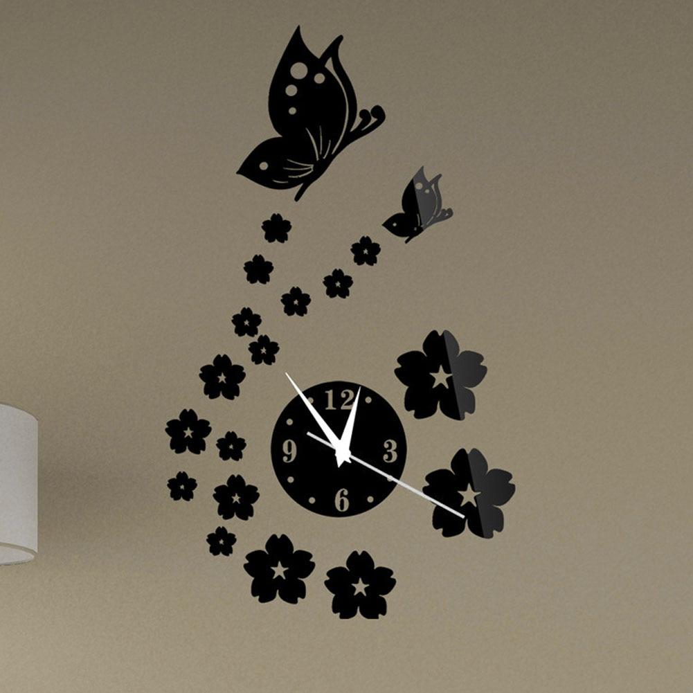 Настенная наклейка акрил 3D зеркало фрески ремесло декор чайник часы узор дом