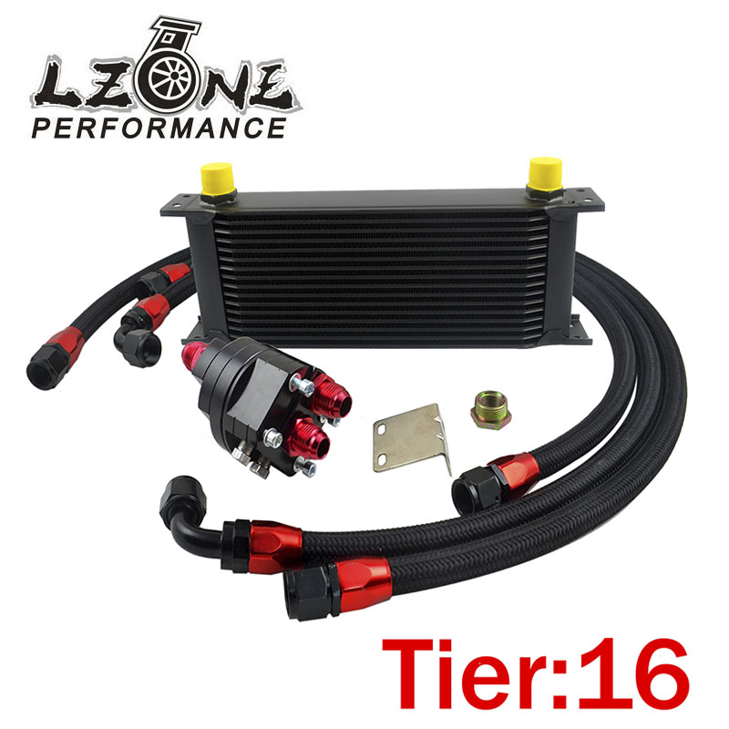LZONE -  UNIVERSAL 16 ROWS ENGINE OIL COOLER+ALUMINUM OIL FILTER/COOLER RELOCATION KIT+3X BLACK NYLON BRAIDED HOSE LINE+ADAPTER ершов ю а коллоидная химия