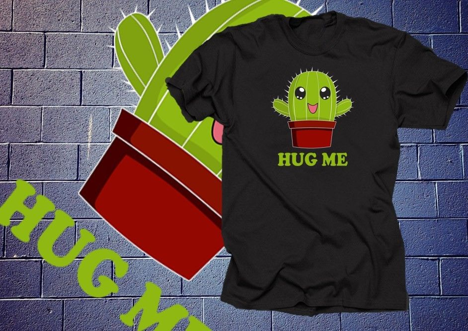 Cactus <font><b>Hug</b></font> <font><b>Me</b></font> T Shirt Funny <font><b>Tshirt</b></font> Cactus Shirt Funny Shirt Cartoon t shirt men Unisex New Fashion <font><b>tshirt</b></font> free shipping funny image