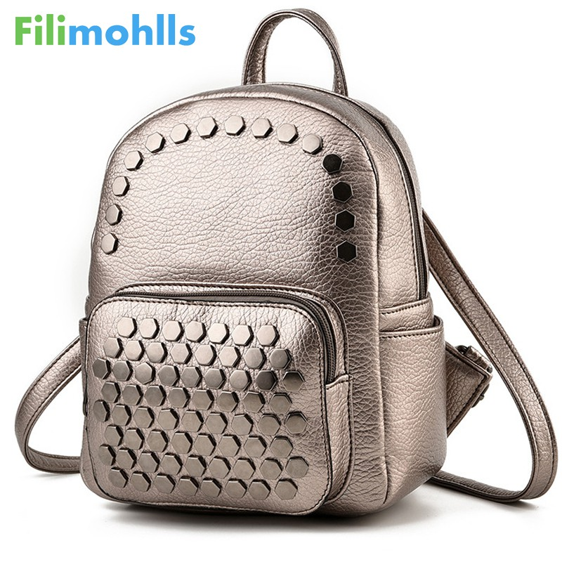 High Quality Rivet Female Shoulder Bag PU Leather Backpacks School Bags For Girls Women Bag Women Backpacks Fashion Bags S1265