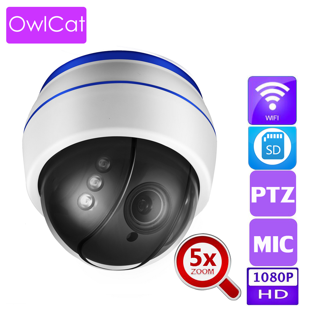 OwlCat Full HD 1080P Security Camera Indoor Dome IP Camera 5x Zoom Two Way Audio Talk With Microphone SD P2P ONVIF Email Motion