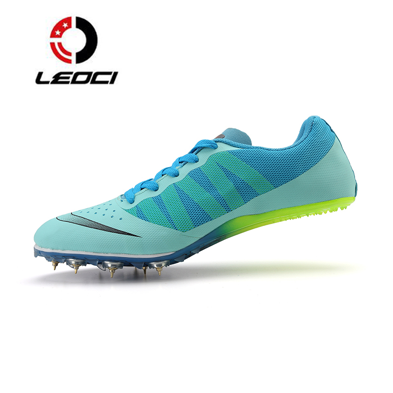 LEOCI Ultralight Race Sprint Dash Track Field Spikes Running Shoes Men Trainers Sport Breathable Athletic Sneakers Light Running