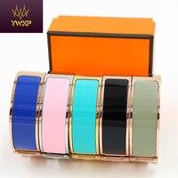 YWXP 18mm Luxury Stainless Steel Cuff Bracelets Bangles Wristband Enamel Bangle H Design Classic Brand Bracelets