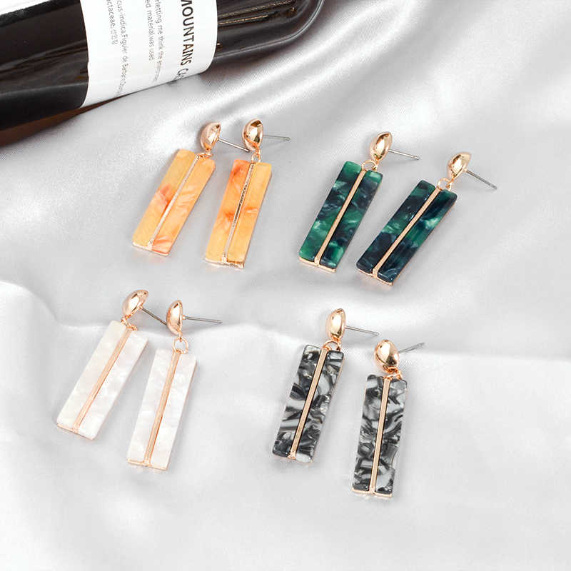 Marble Multicolored Glass Acrylic Pendant Earrings Four-color geometric shape earrings Ladies charm jewelry Party accessories