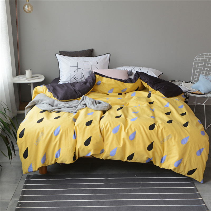 Yellow duvet cover set 100% cotton cartoon bed sheets pillow case queen king bedding set for adults brief bed linens bedclothes