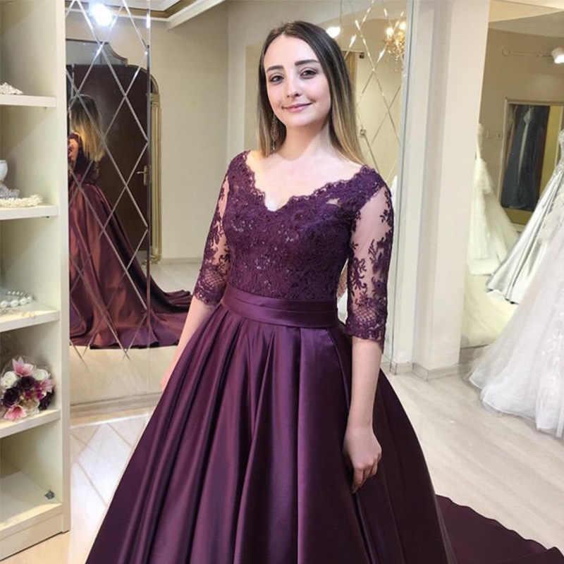 V-צוואר שמלות נשף עם חצי שרוולים אפליקציות חרוזים ענבים סאטן אירוע מיוחד מסיבת שמלות קפלת רכבת פורמליות נשף שמלה