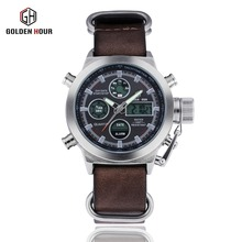 Luxury Mens Sports leather watch LED dual display outdoor sports military waterproof relogio Masculino