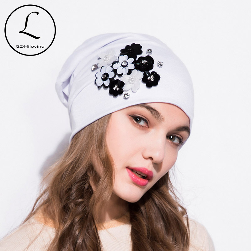 90f764af0fd Detail Feedback Questions about GZHILOVINGL Brand Knitted Caps Spring  Winter Autumn Cotton Flower Women Girls Skullies Beanies Cap Solid Color  Simple Bonnet ...
