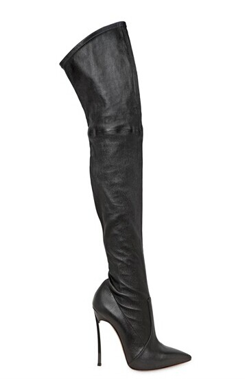 2017 women thigh high boots over the knee high heel boots winter and autumn woman shoes sexy pointed toe long boot black leather 2017 sexy thick bottom women s over the knee snow boots leather fashion ladies winter flats shoes woman thigh high long boots