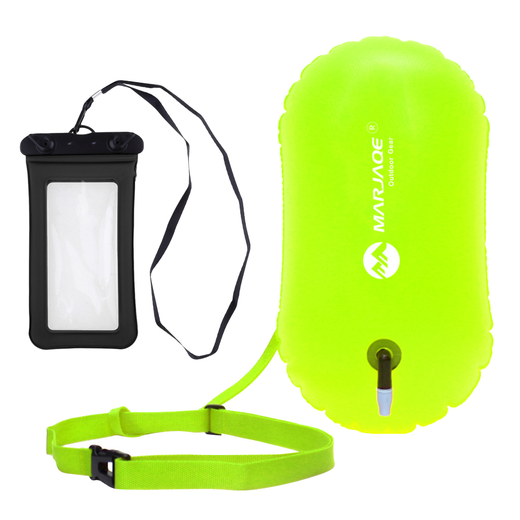 Safety Open Swim Buoy Tow Float Inflated Buoyance& Dry Phone Case Swim Safety Float Flotation Device Water Buoy Air Bag