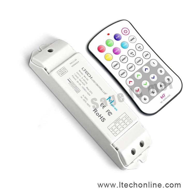LTECH M7+M4-5A;M7 MINI RF wireless remote led RGB controller M4-5A CV Constant Voltage Receiving;DC5V-DC24V input;6A*3CH Max18A m3 m4 5a m3 touch rf remote with m4 5a cv receiver led dimmer controller dc5v dc24v input 5a 4ch max 20a output